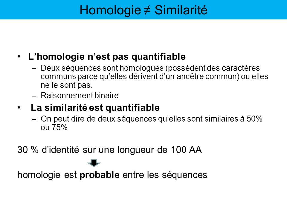 Homologie ≠ Similarité