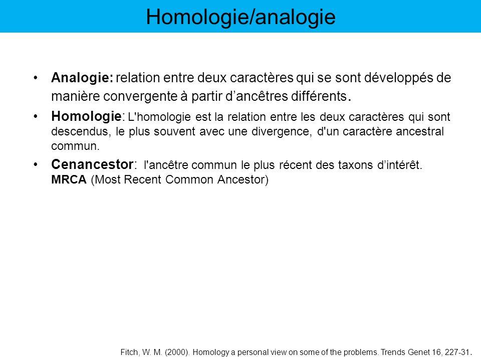 Homologie/analogie Analogie: relation entre deux caractères qui se sont développés de manière convergente à partir d'ancêtres différents.