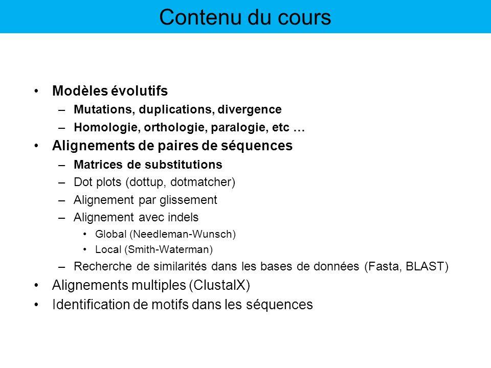 Contenu du cours Modèles évolutifs Alignements de paires de séquences