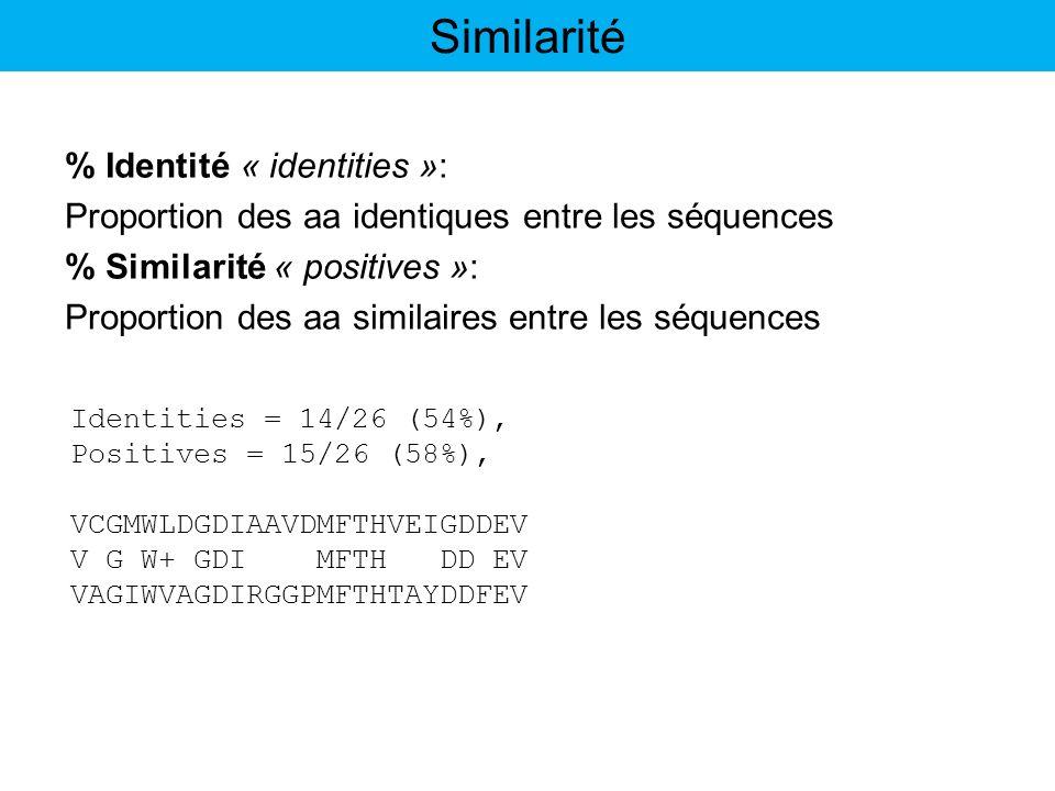 Similarité % Identité « identities »: