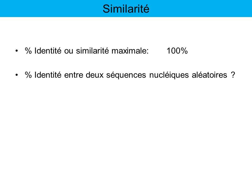 Similarité % Identité ou similarité maximale: 100%