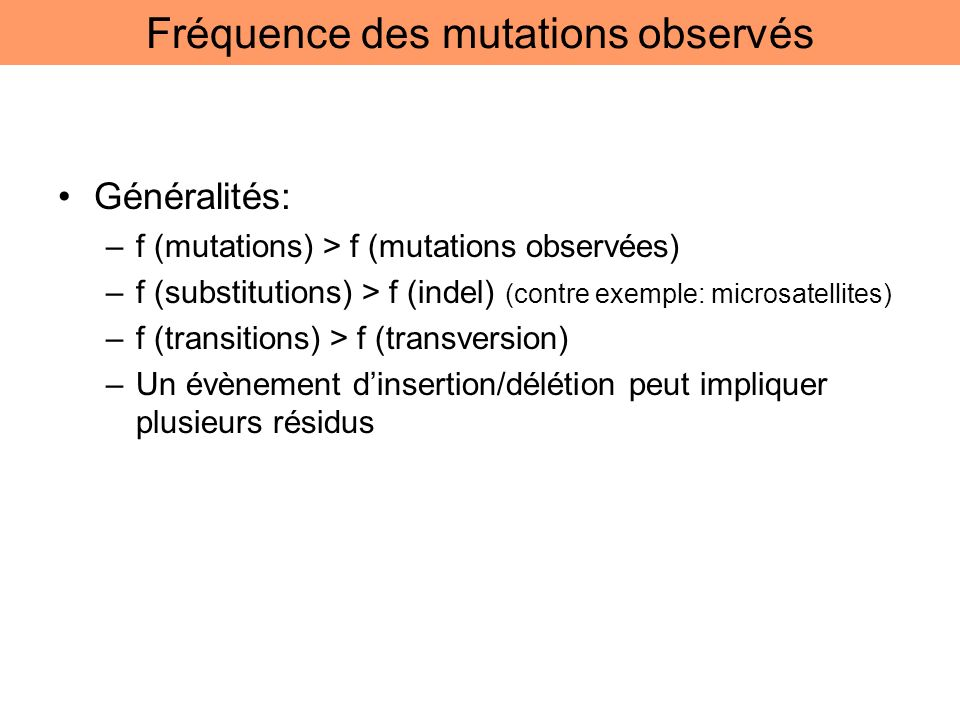 Fréquence des mutations observés