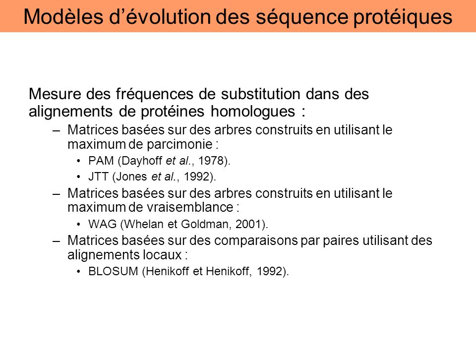 Modèles d'évolution des séquence protéiques