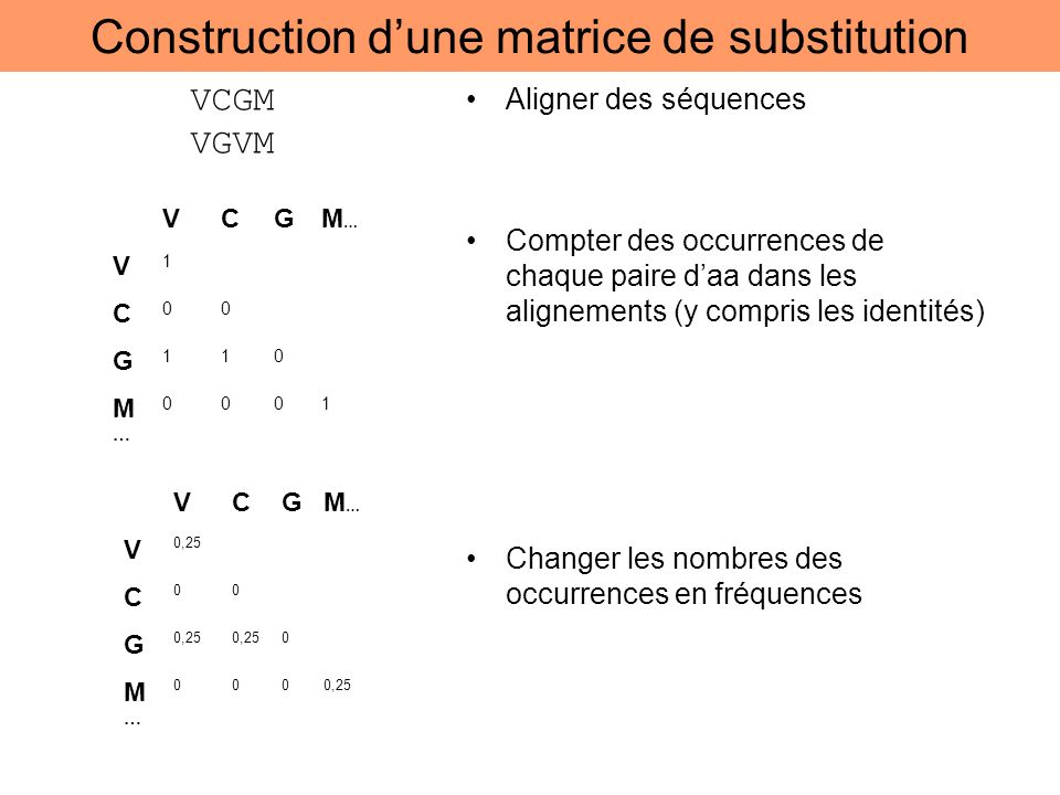 Construction d'une matrice de substitution