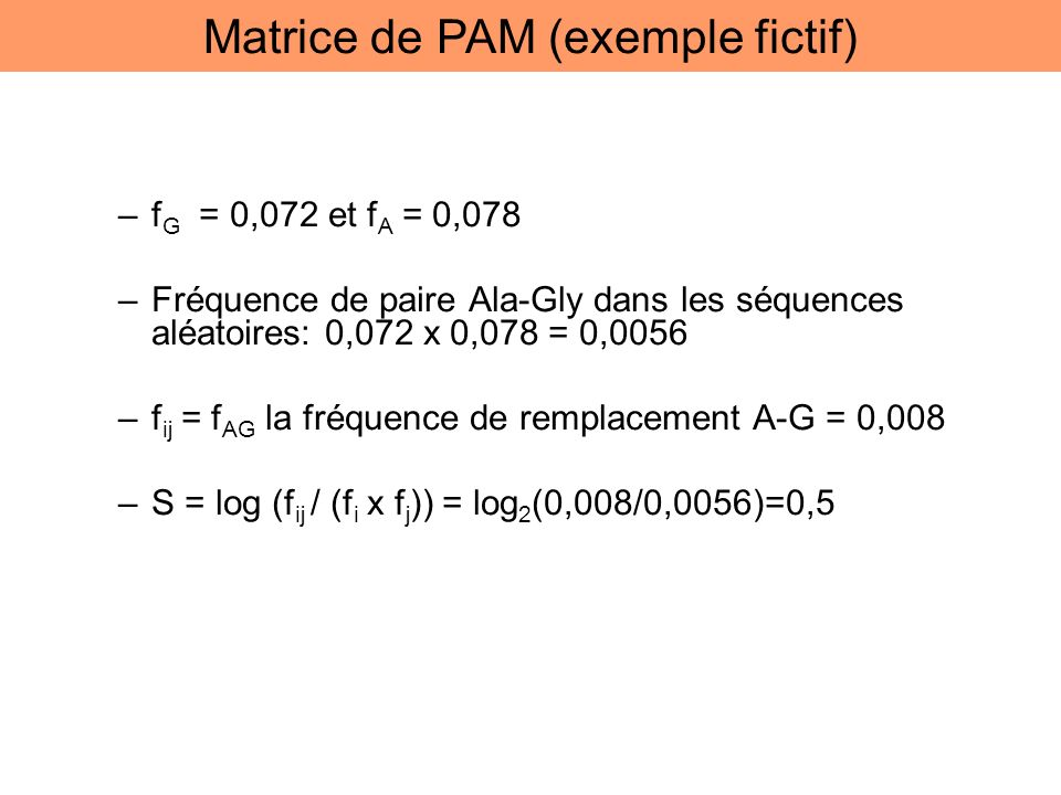 Matrice de PAM (exemple fictif)