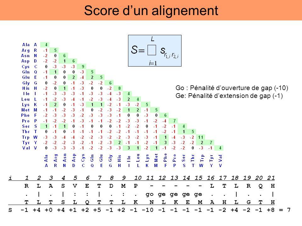 Score d'un alignement Go : Pénalité d'ouverture de gap (-10)