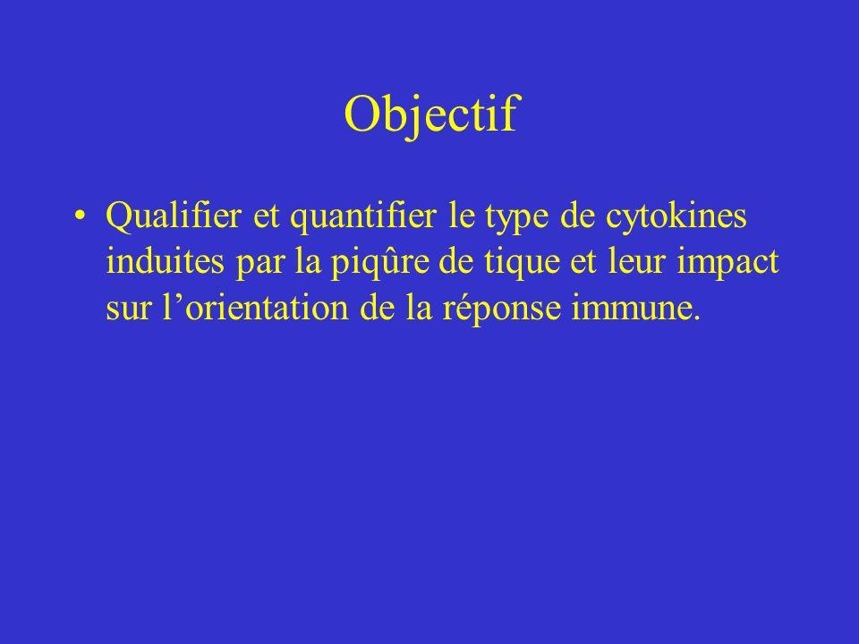 Objectif Qualifier et quantifier le type de cytokines induites par la piqûre de tique et leur impact sur l'orientation de la réponse immune.