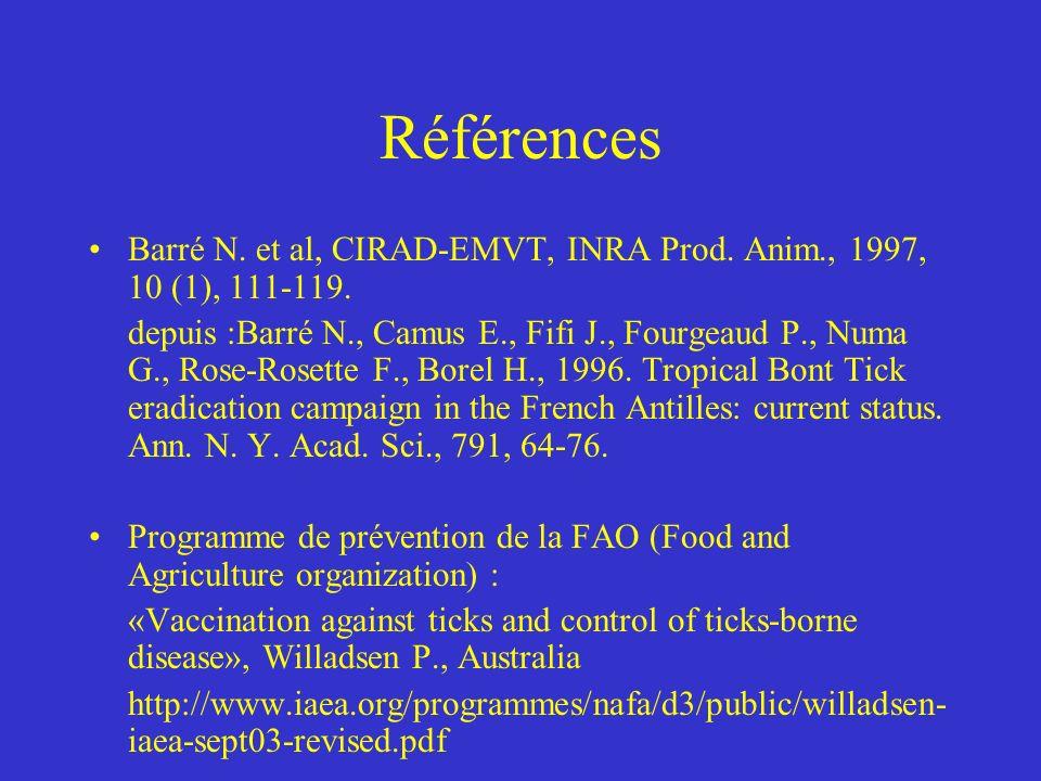 Références Barré N. et al, CIRAD-EMVT, INRA Prod. Anim., 1997, 10 (1), 111-119.