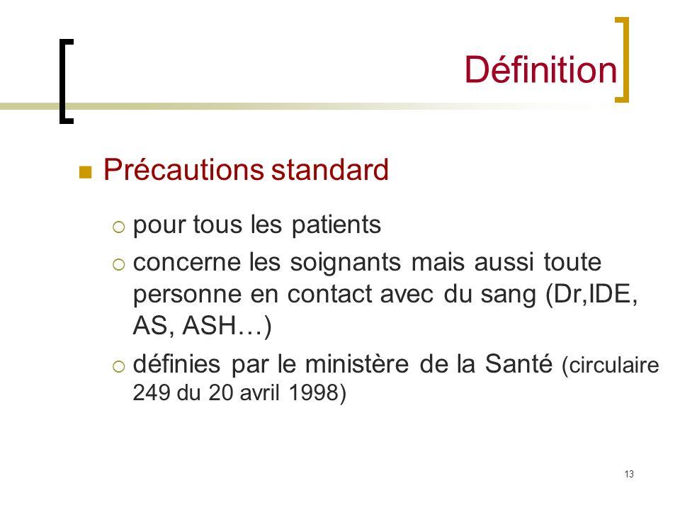 Définition Précautions standard pour tous les patients