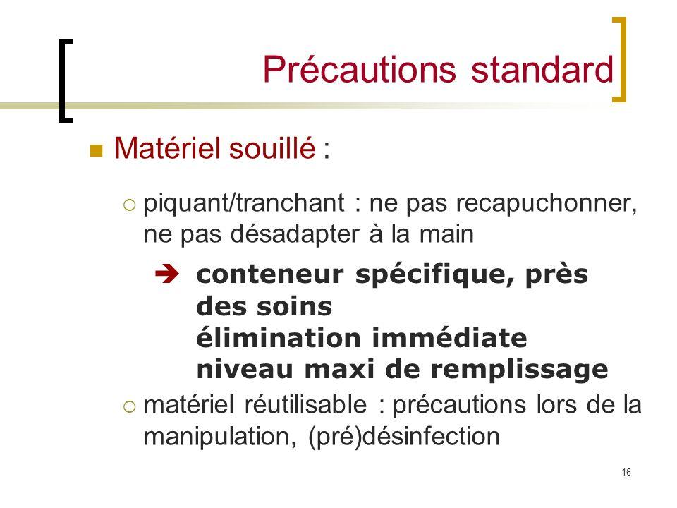 Précautions standard Matériel souillé :