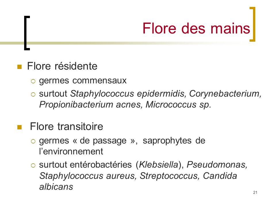 Flore des mains Flore résidente Flore transitoire germes commensaux