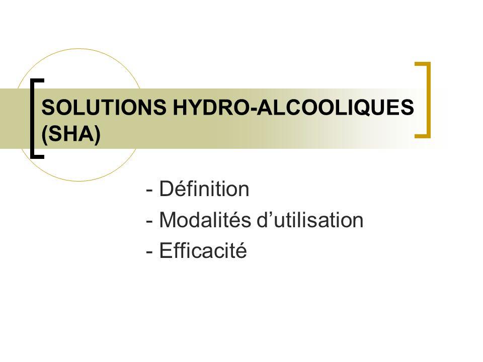 SOLUTIONS HYDRO-ALCOOLIQUES (SHA)