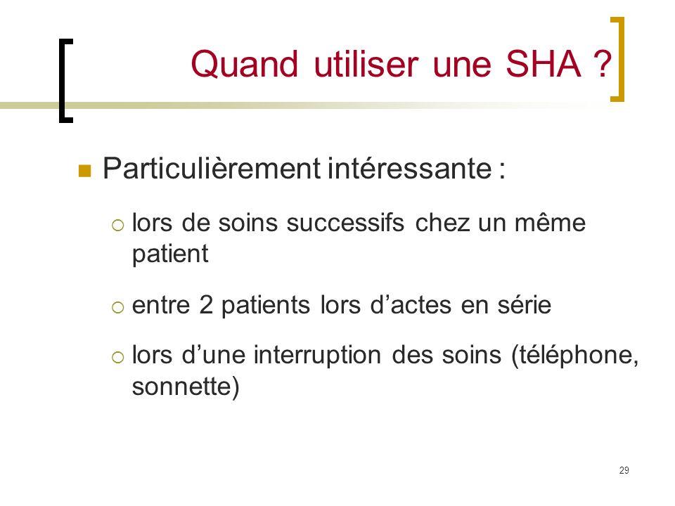 Quand utiliser une SHA Particulièrement intéressante :