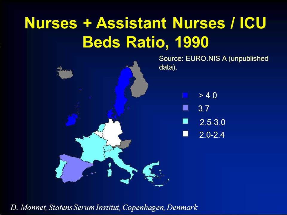 Nurses + Assistant Nurses / ICU Beds Ratio, 1990