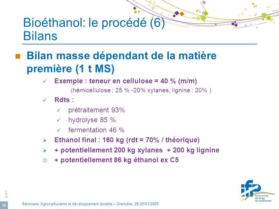 Bioéthanol: le procédé (6) Bilans