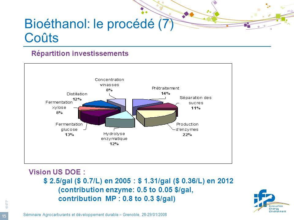 Bioéthanol: le procédé (7) Coûts