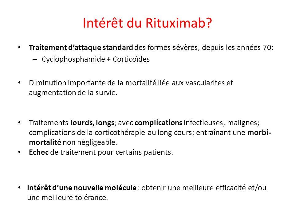 Intérêt du Rituximab Traitement d'attaque standard des formes sévères, depuis les années 70: Cyclophosphamide + Corticoïdes.