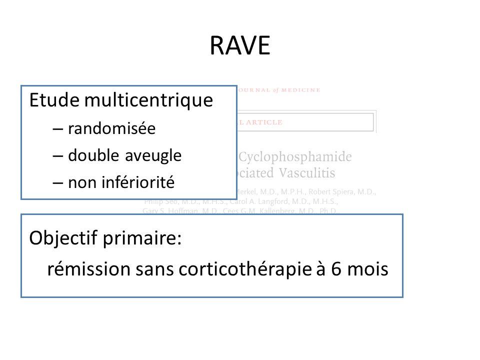 RAVE Etude multicentrique Objectif primaire: