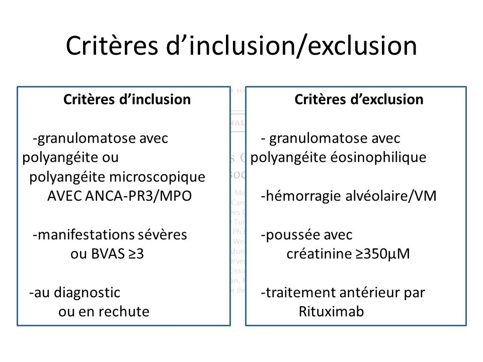 Critères d'inclusion/exclusion