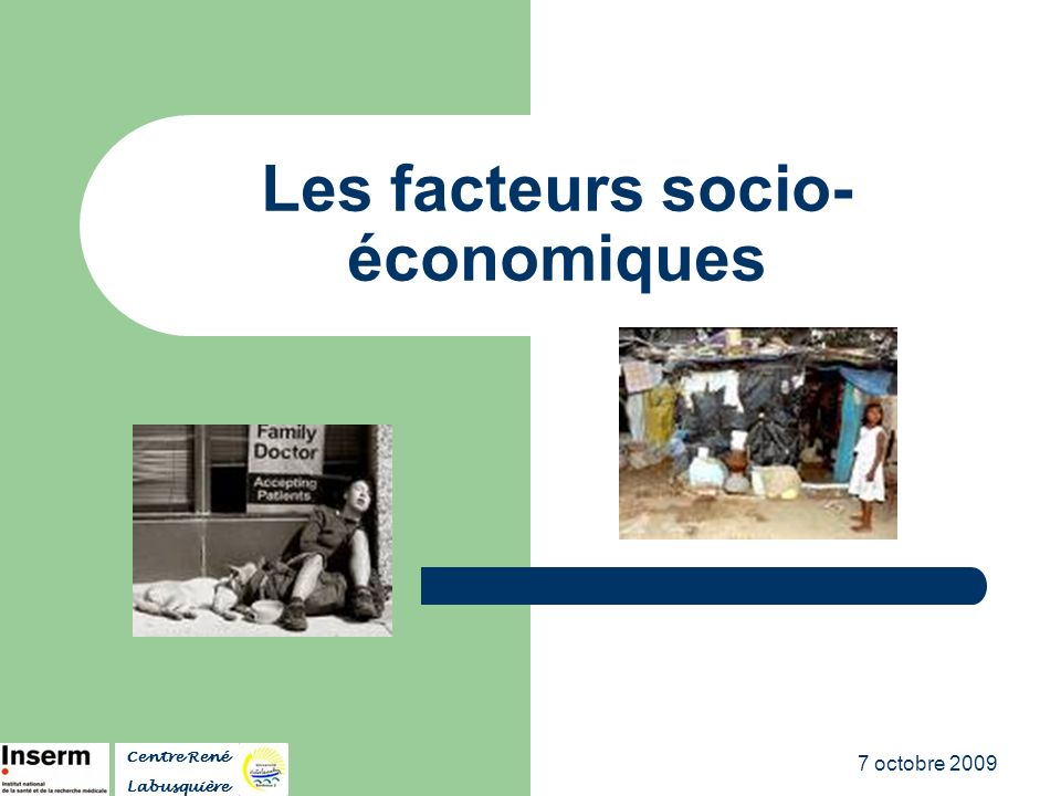 Les facteurs socio-économiques