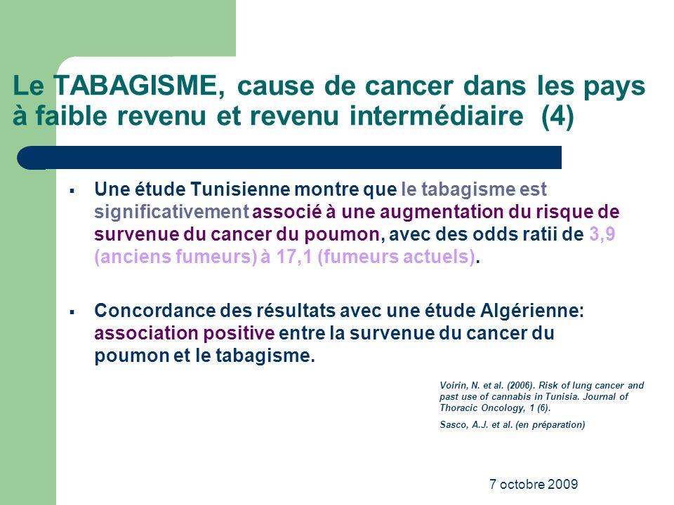 Le TABAGISME, cause de cancer dans les pays à faible revenu et revenu intermédiaire (4)