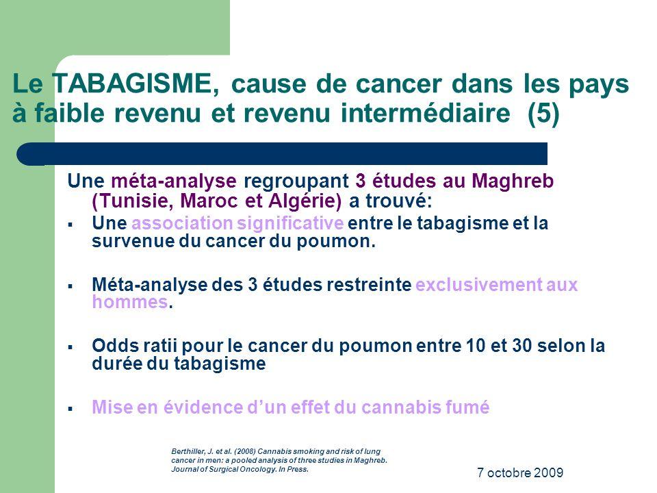 Le TABAGISME, cause de cancer dans les pays à faible revenu et revenu intermédiaire (5)