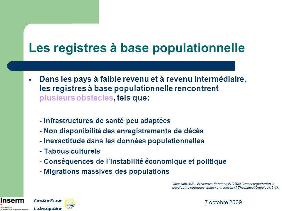 Les registres à base populationnelle