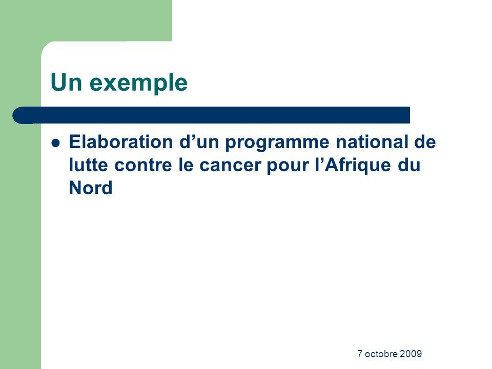 Un exemple Elaboration d'un programme national de lutte contre le cancer pour l'Afrique du Nord.