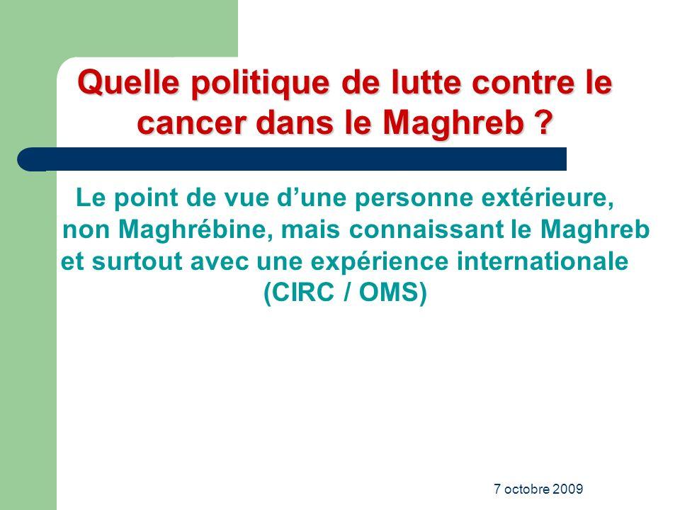 Quelle politique de lutte contre le cancer dans le Maghreb