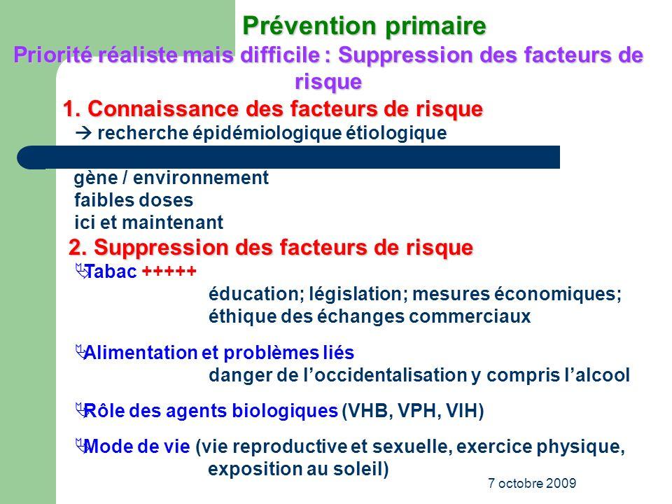 Priorité réaliste mais difficile : Suppression des facteurs de risque