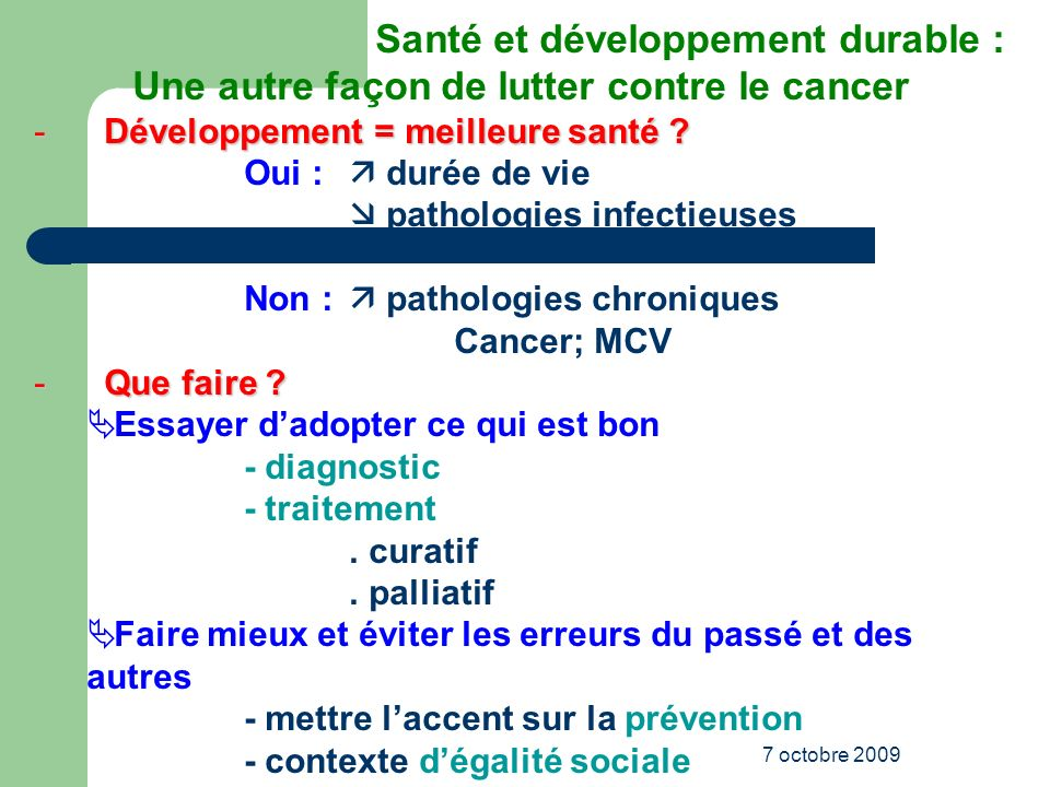 Santé et développement durable :