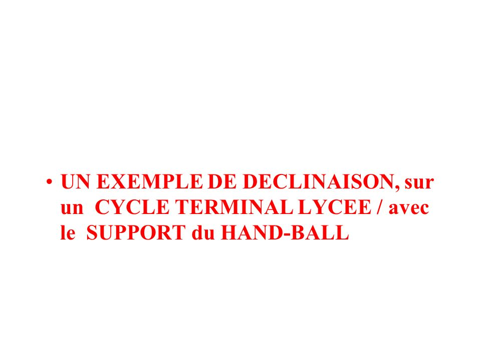 UN EXEMPLE DE DECLINAISON, sur un CYCLE TERMINAL LYCEE / avec le SUPPORT du HAND-BALL