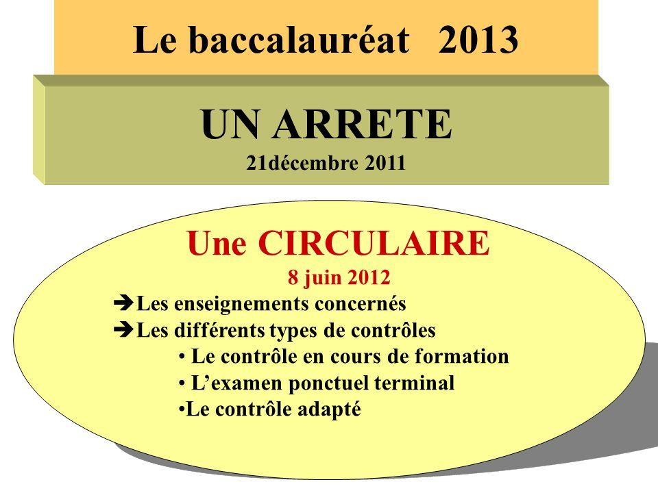 UN ARRETE Le baccalauréat 2013 Une CIRCULAIRE 21décembre 2011