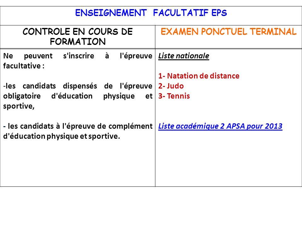 ENSEIGNEMENT FACULTATIF EPS CONTROLE EN COURS DE FORMATION
