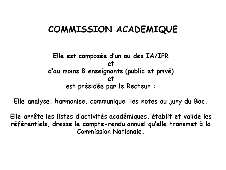 COMMISSION ACADEMIQUE