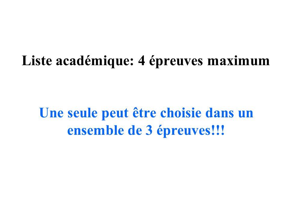 Liste académique: 4 épreuves maximum Une seule peut être choisie dans un ensemble de 3 épreuves!!!