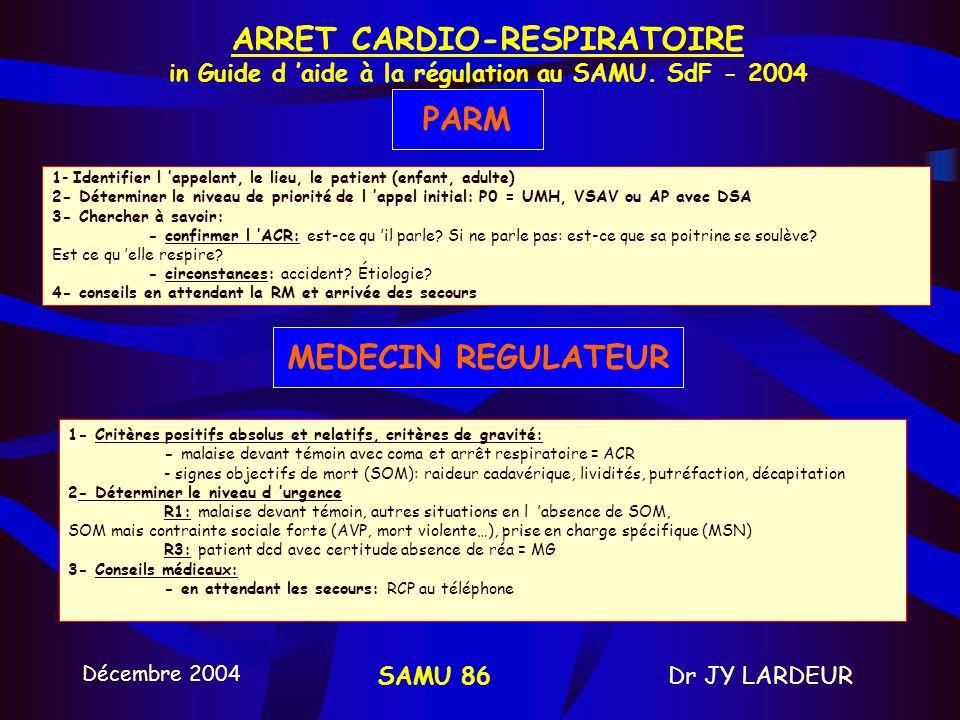 ARRET CARDIO-RESPIRATOIRE in Guide d 'aide à la régulation au SAMU