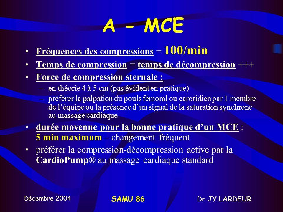 A - MCE Fréquences des compressions = 100/min