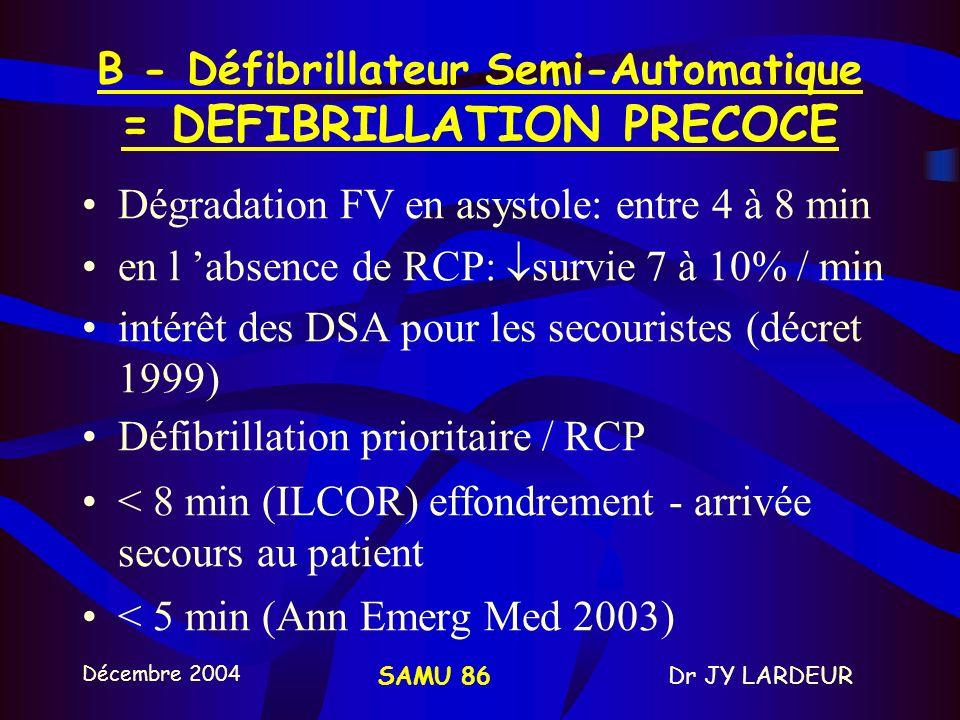 B - Défibrillateur Semi-Automatique = DEFIBRILLATION PRECOCE