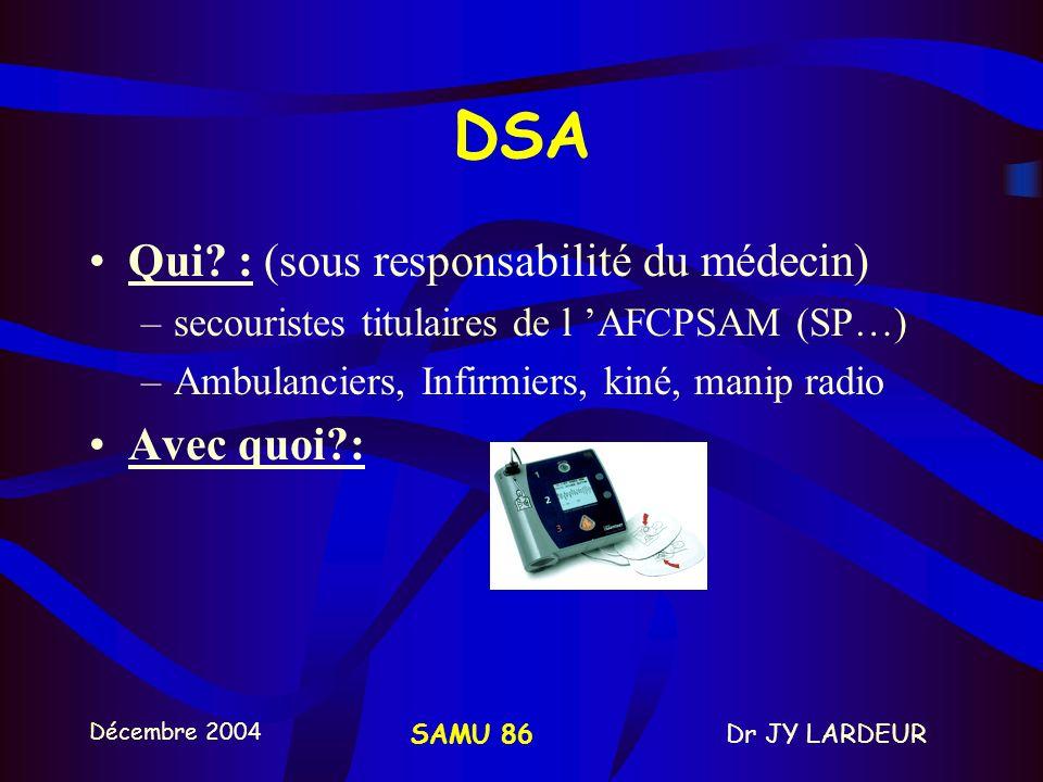 DSA Qui : (sous responsabilité du médecin) Avec quoi :