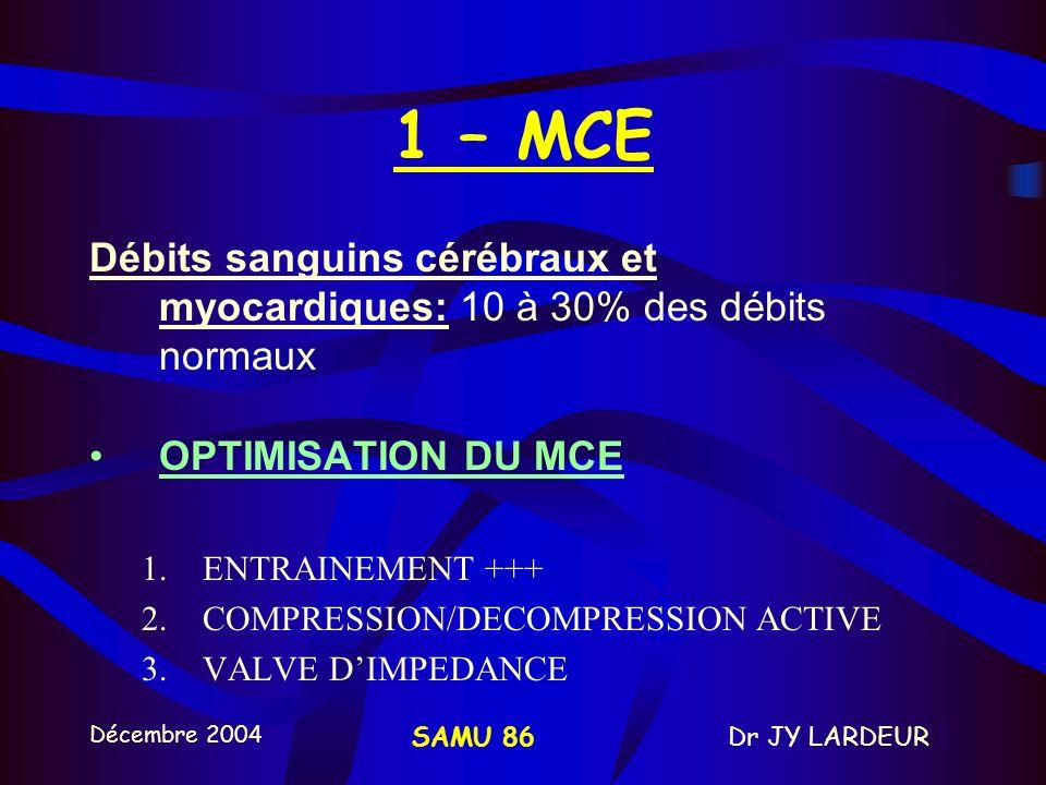 1 – MCE Débits sanguins cérébraux et myocardiques: 10 à 30% des débits normaux. OPTIMISATION DU MCE.