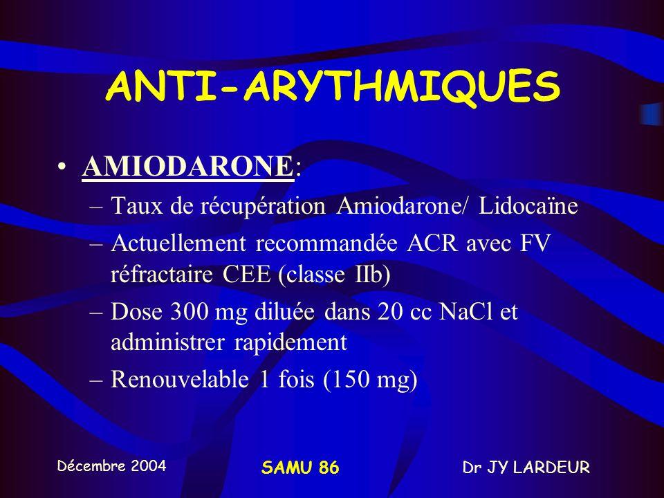 ANTI-ARYTHMIQUES AMIODARONE:
