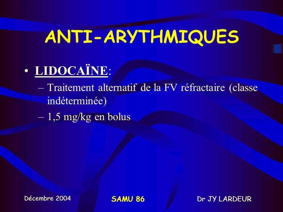 ANTI-ARYTHMIQUES LIDOCAÏNE: