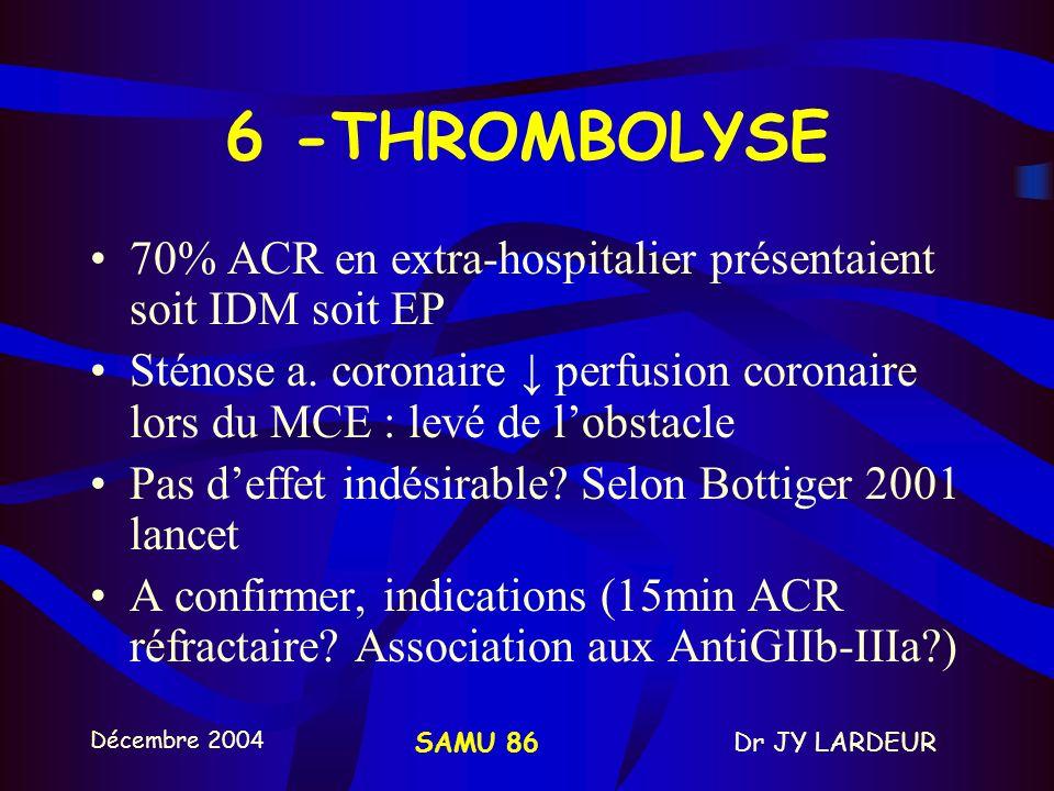 6 -THROMBOLYSE 70% ACR en extra-hospitalier présentaient soit IDM soit EP.