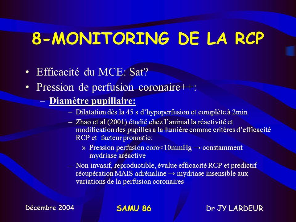 8-MONITORING DE LA RCP Efficacité du MCE: Sat