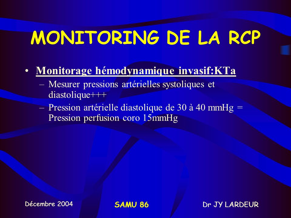 MONITORING DE LA RCP Monitorage hémodynamique invasif:KTa