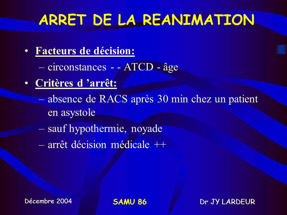 ARRET DE LA REANIMATION