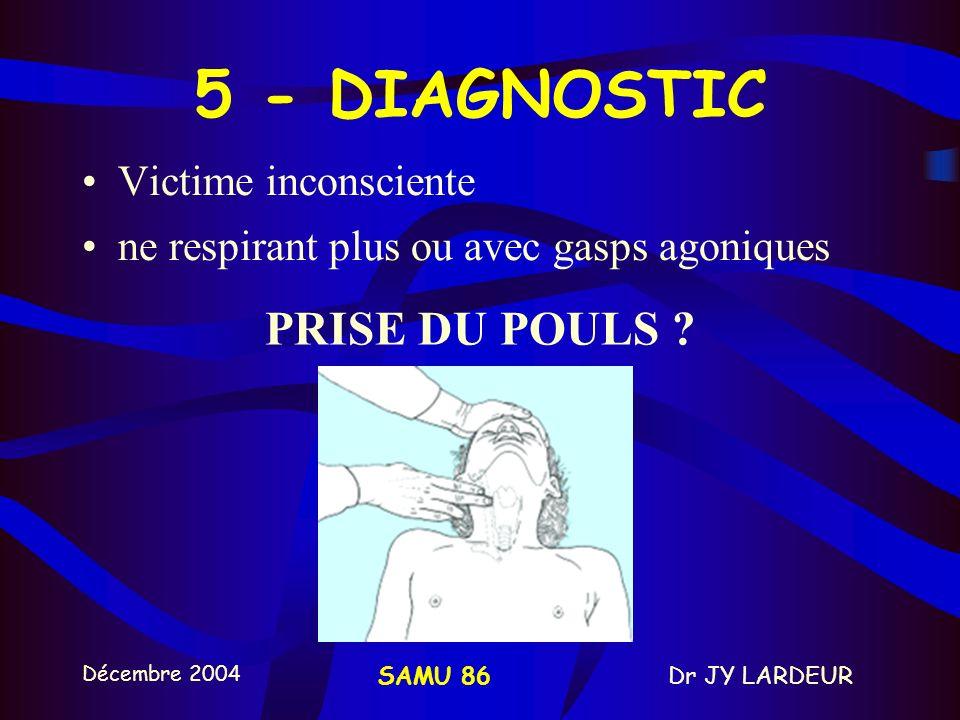 5 - DIAGNOSTIC PRISE DU POULS Victime inconsciente