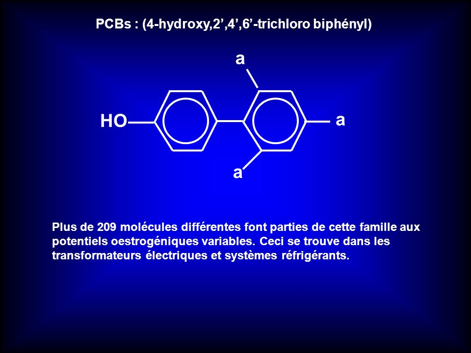 a HO PCBs : (4-hydroxy,2',4',6'-trichloro biphényl)