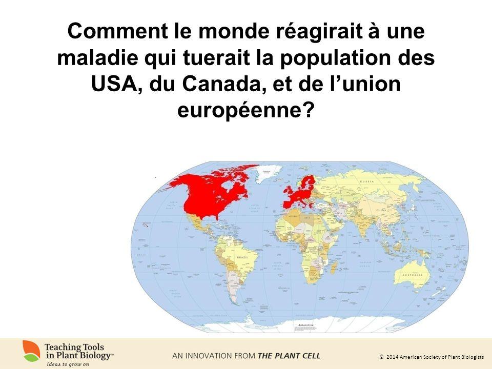 Comment le monde réagirait à une maladie qui tuerait la population des USA, du Canada, et de l'union européenne